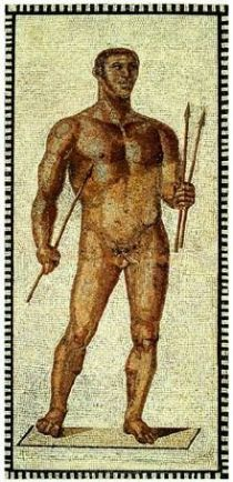 Image of a javelin thrower, among the 3rd century mosaics of athletes found in the Baths of Caracalla, now in the Vatican Museum.