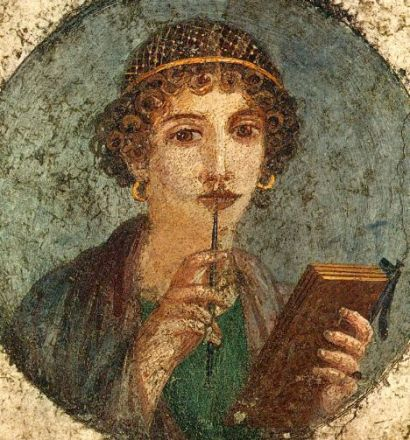 Roman fresco (c. 53-79 CE) of a young woman with stylus and wax tablets, from the National Archaeological Museum of Naples. Found in Pompeii.
