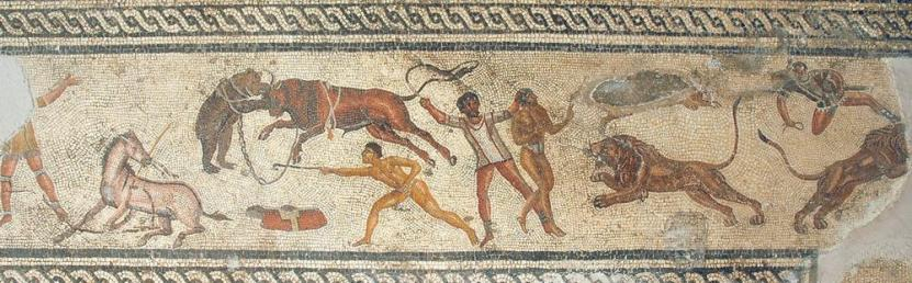 Amphitheater Mosaic, from Villa di Dar Buc Amméra at Zliten, in the Archaeological Museum of Tripoli.