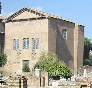 The Curia Julia, meeting place of the Roman Senate, begun by Julius Caesar in 44 BCE, finished by Augustus in 29 BCE, restored under Domitian in 81-96 CE, and rebuilt under Diocletian, 284-385 CE. Photo from Wikimedia Commons.